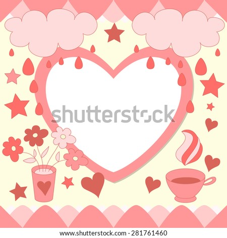 Cute pink photo frame. Baby shower card. Scrapbook elements. Vector blue illustration. Happy birthday card. - stock vector