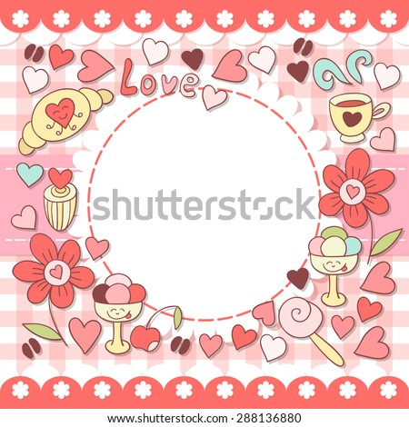 Cute pink photo frame. Baby shower card. Scrapbook elements. Vector cute illustration with flowers, sweets, ice cream, coffee and hearts . Happy birthday card. - stock vector