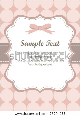 Cute Pink Romantic Invitation - stock vector