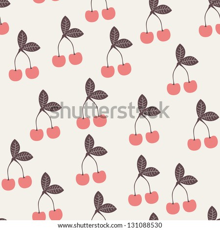 Cute pink seamless pattern with cherries. Repeating print - stock vector