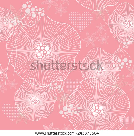 Cute pink seamless pattern with flowers and hearts - stock vector