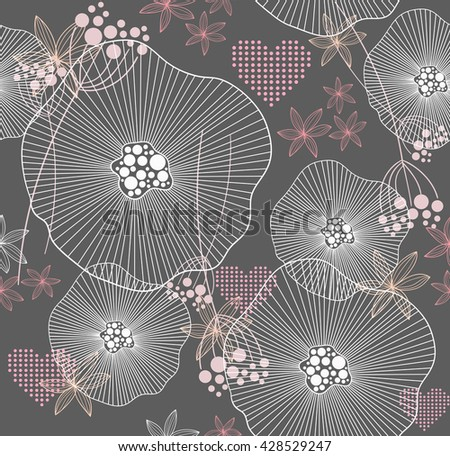 Cute pink seamless pattern with flowers and hearts