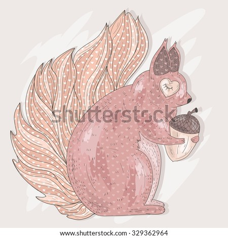Cute pink squirrel holding acorn. Illustration for kids or children.