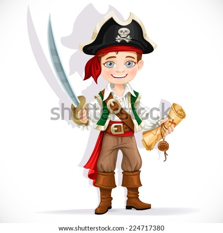 Cute pirate boy with cutlass isolated on a white background