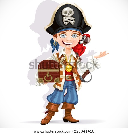 Cute pirate boy with red parrot hold treasure chest isolated on a white background