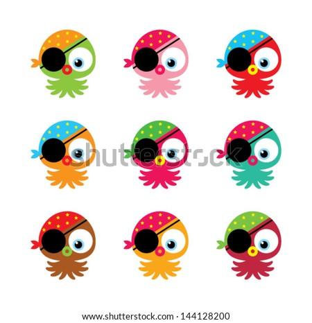 cute pirate octopus - stock vector