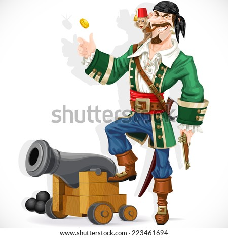 Cute pirate with monkey throw up golden coin stand  on cannon - stock vector
