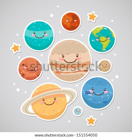 Cute planet: saturn, mars, neptune, earth, venus, mercury, jupiter, uranus, pluto - stock vector