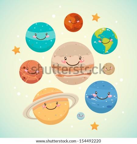 Cute planet: saturn, mars, neptune, earth, venus, mercury, jupiter, uranus, pluto - stock vector