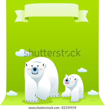 cute polar bear with ECO element.Vector illustration with simple gradients. - stock vector