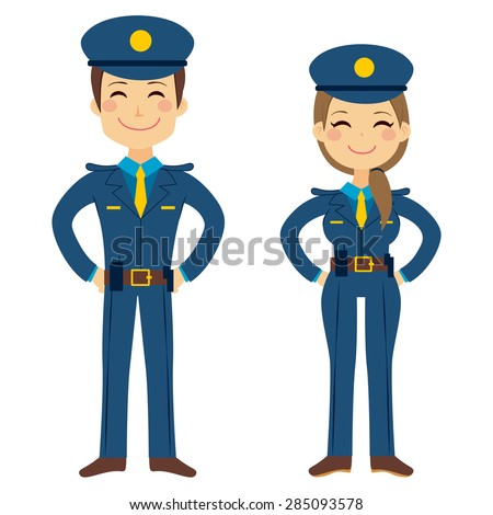 Cute police man and woman agents working in uniform standing happy - stock vector