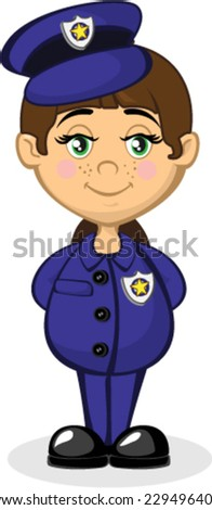Cute Police Woman In Blue - stock vector