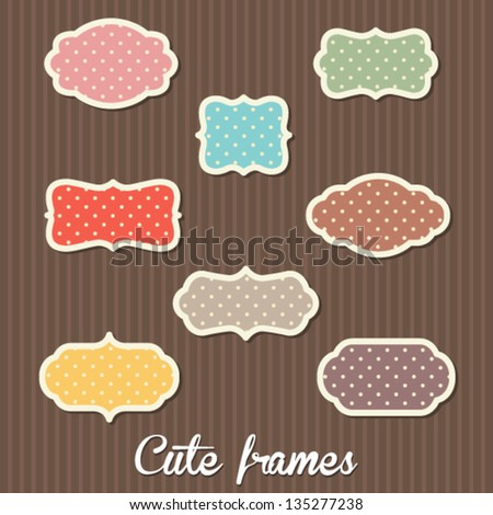Cute polka dot labels - stock vector