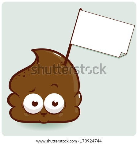 Cute poop cartoon vector character holding blank sign. - stock vector