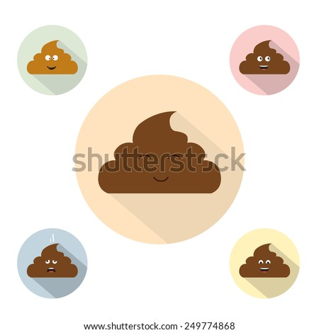 Cute poop flat icon characters set. Vector illustration - stock vector