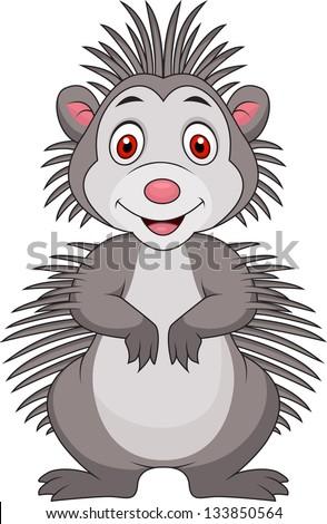 Cute porcupine cartoon - stock vector