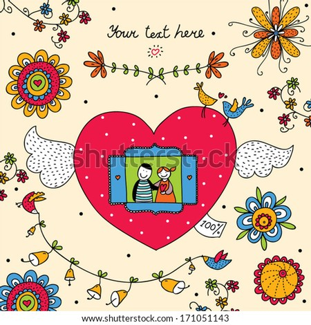 Cute postcard about love.