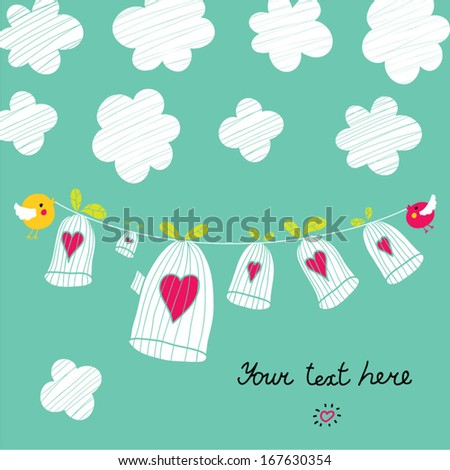 Cute postcard about love. Vector.