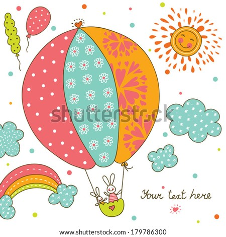 Cute postcard with rabbit. - stock vector