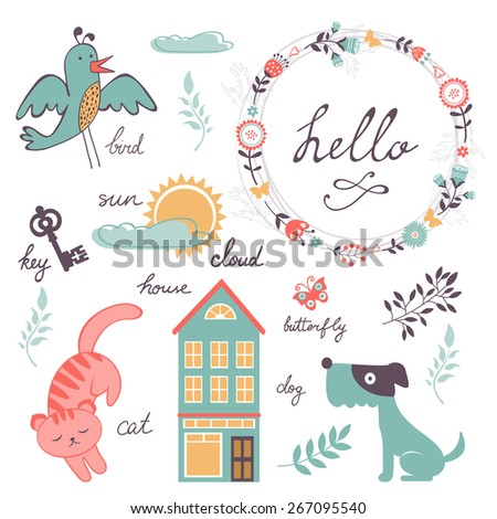 Cute preschool words collection. Colorful vector illustration