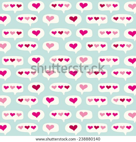 Cute Primitive Retro Background For Valentines Day With Sms Message As Speech Bubbles And Hearts