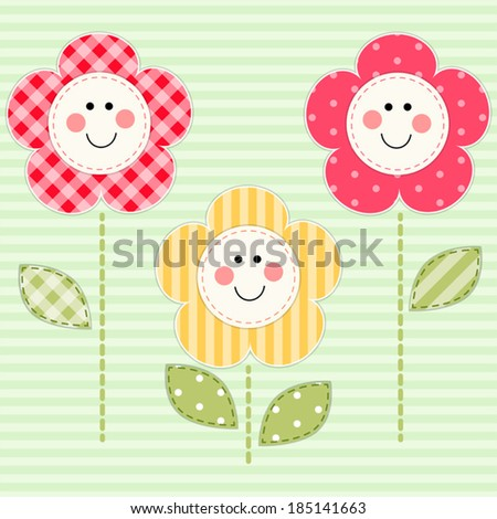 Cute Primitive Retro Flowers With Smiling Faces As Fabric Applique