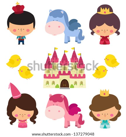 Cute Princess Illustration - stock vector