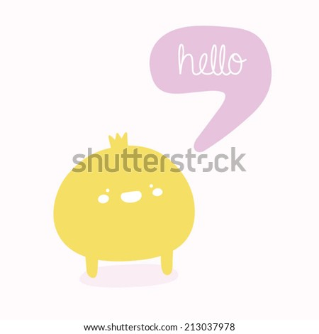 "Cute princess with ""Hello"" speech bubble. Funny doodle character in cartoon style - stock vector"