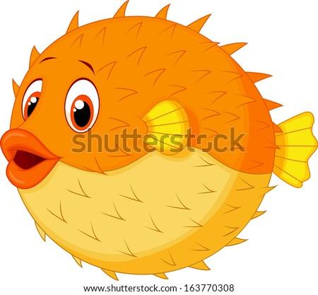 Cute puffer fish cartoon - stock vector