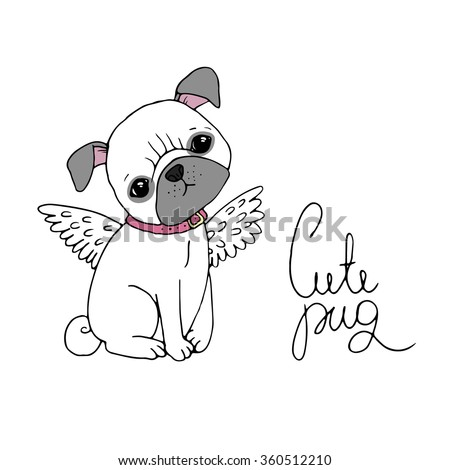 Cute Pug. Dog. Hand drawing isolated objects on white background. Vector illustration. - stock vector
