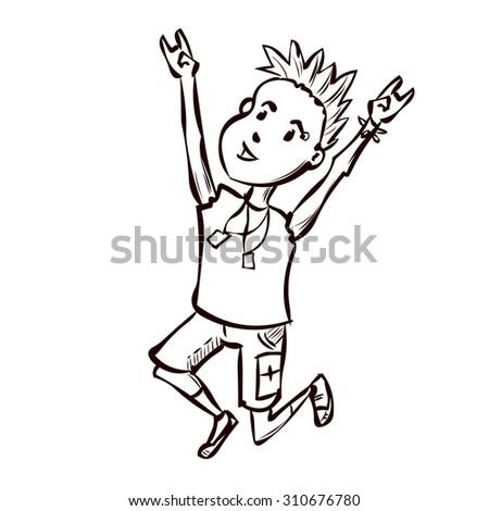 Cute Punk Rock Boy Hand Drawn Stock Vector 310676780 - Shutterstock