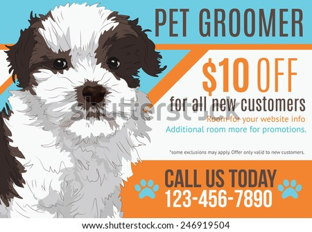 Cute puppy advertising pet grooming salon postcard with coupon template - stock vector