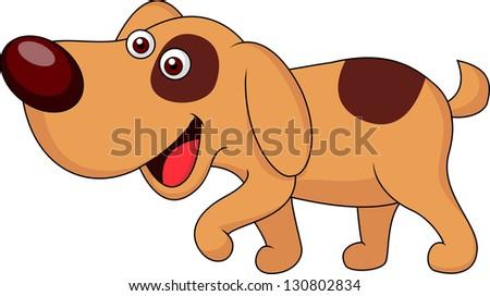 Cute puppy cartoon - stock vector