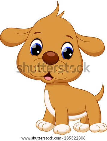 Cute puppy cartoon  - stock vector