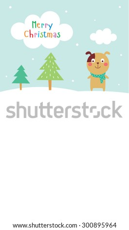 cute puppy dog  merry christmas greeting card vector - stock vector