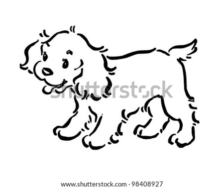 Cute Puppy Dog - Retro Clipart Illustration