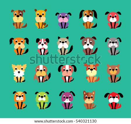 cute puppy dog vector collection