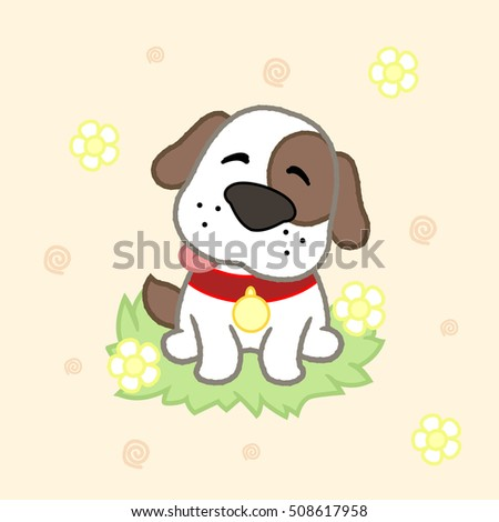 Cute puppy, drawing for kids.Vector illustration.