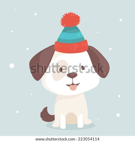 Cute puppy sits in winter hat, vector illustration - stock vector
