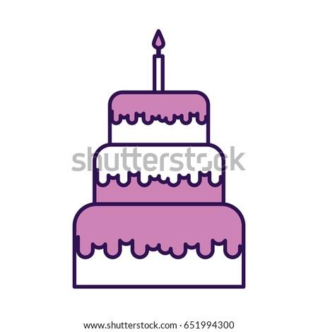 Cute Purple Birthday Cake Cartoon Stock Photo Photo Vector
