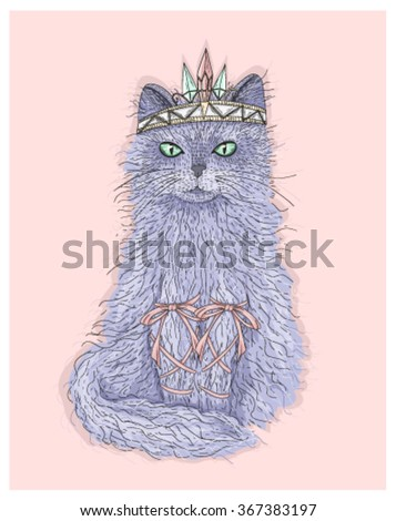 Cute purple cat princess with crown and ribbons. Fairytale vector illustration. fairytale, fairytale, fairytale, fairytale, fairytale, fairytale, fairytale, fairytale, fairytale, fairytale, fairytale
