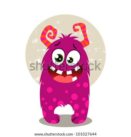 Cute Purple Monster - stock vector