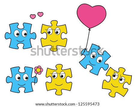 Cute puzzle characters in love