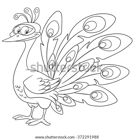 cute queenly and gorgeous cartoon girlish peacock bird with a beautiful crown and colorful ornate tail, isolated on a white background - stock vector