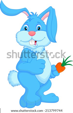 cute rabbit cartoon thumbs up - stock vector