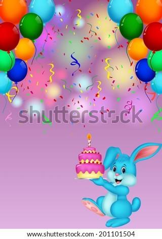 Cute rabbit holding birthday cake - stock vector