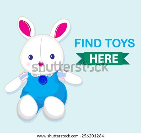 cute rabbit toy banner  - stock vector