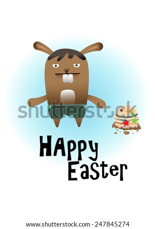cute rabbit with easter egg on white background - stock vector