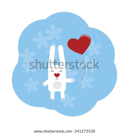 cute rabbit with heart on a string - stock vector