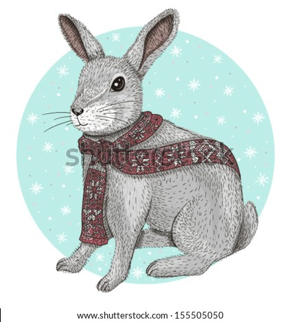 Cute rabbit with scarf winter background - stock vector